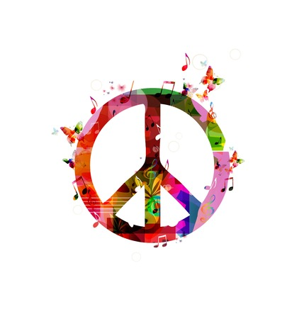 paz mundial: Signo de la paz colorido. Vector