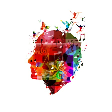 singing bird: Colorful vector head Illustration