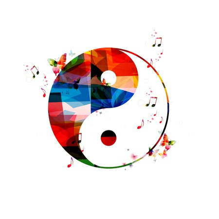 Colorful vector ying yang background with butterflies