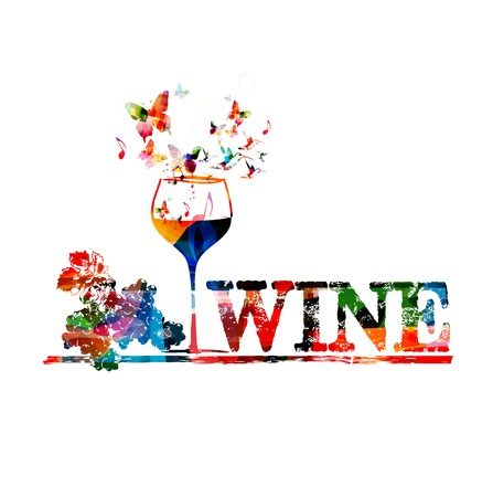 Colorful vector wine background with butterflies