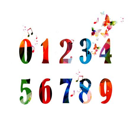 Colorful vector numbers with butterflies
