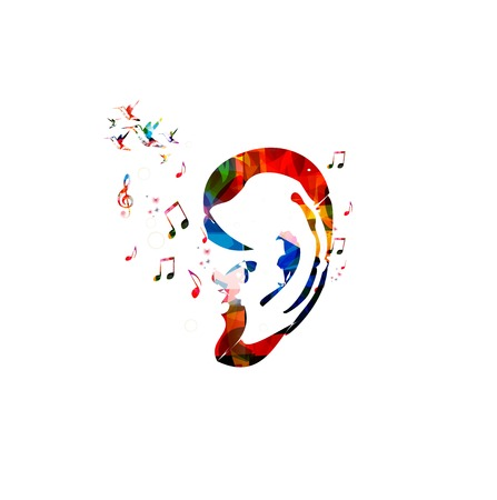 Abstract colorful ear with hummingbirds background