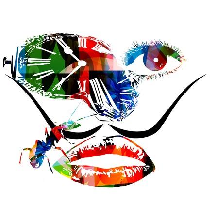 Salvador Dali inspired artwork vector Vettoriali
