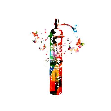 macinino caffè: Colorful vector coffee grinder sfondo con farfalle Vettoriali
