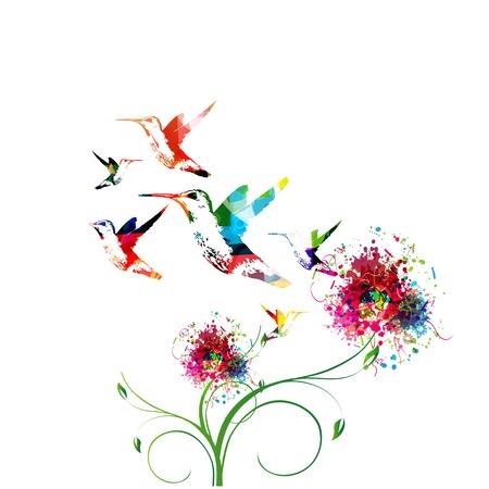 oiseau dessin: Fond coloré avec hummingbirds.Vector