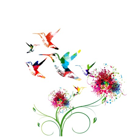 Colorful background with hummingbirds.Vector Illustration