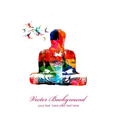 Colorful vector Buddha with hummingbirds 向量圖像