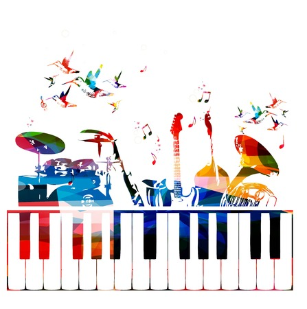 choir: Colorful music instruments background