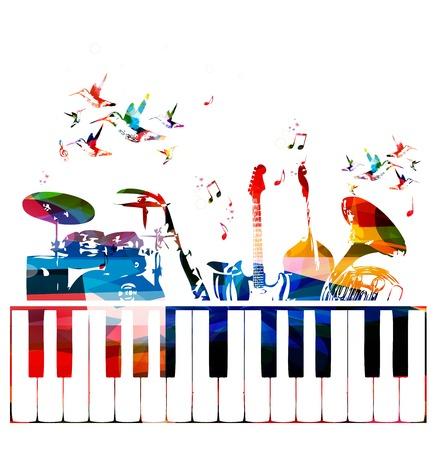 coro: Instrumentos musicales de colores de fondo