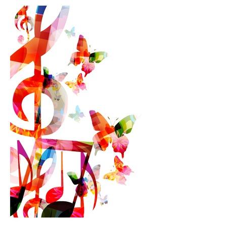 Abstracte muziek achtergrond met vlinders