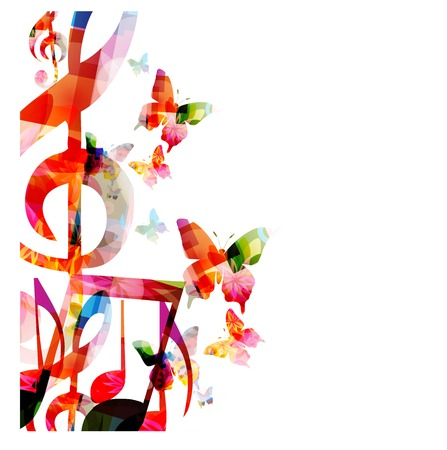 Abstract music background with butterflies