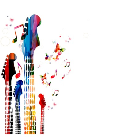 classical guitar: Colorful music vector background with guitars