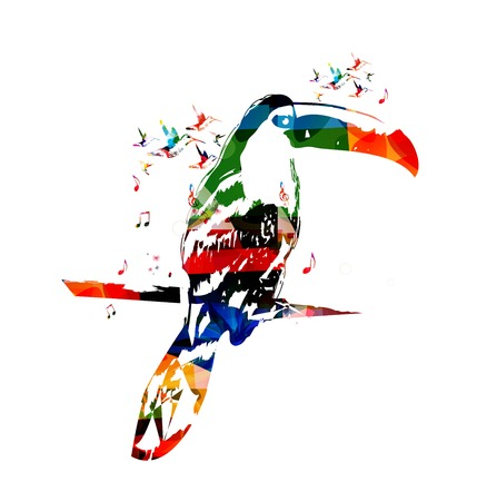 art contemporary: Colorful vector toucan background with hummingbirds