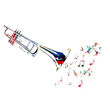 Kleurrijke muziek achtergrond met trompet Stock Illustratie