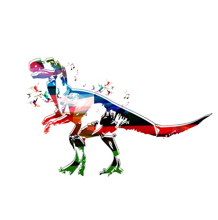 rnabstract: Colorful vector dinosaur background with hummingbirds