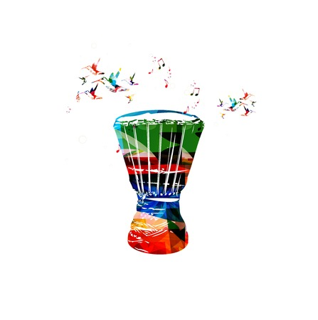 Colorful vector bongo background with hummingbirds