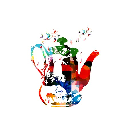 tea kettle: Colorful vector kettle background with hummingbirds