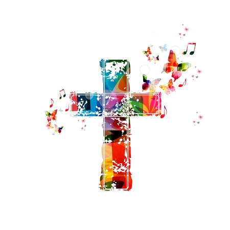 jesus on the cross: Colorful vector cross background with butterflies