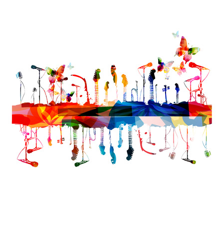 songs: Colorful music instruments background