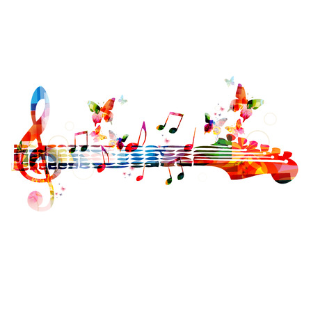 music symbols: Colorful music design with butterflies