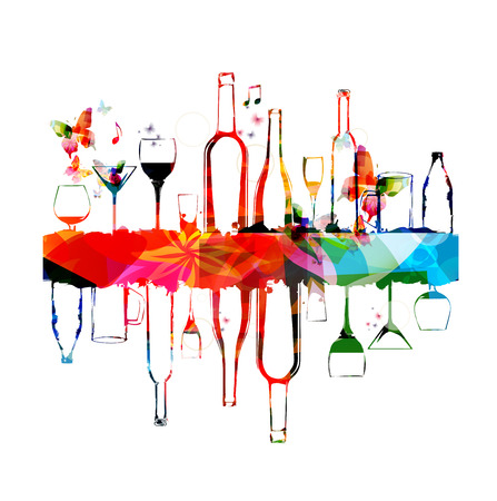 Colorful design with bottles and glasses Çizim