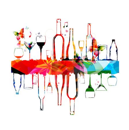 tomando vino: Dise�o colorido con botellas y vasos