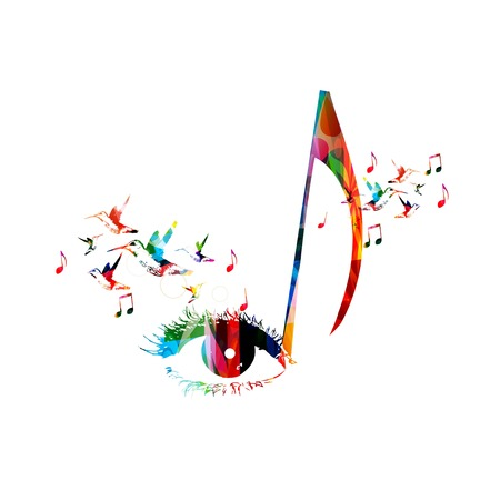 Colorful music background with hummingbirds