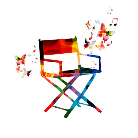 film festival: Colorful vector chair background with butterflies