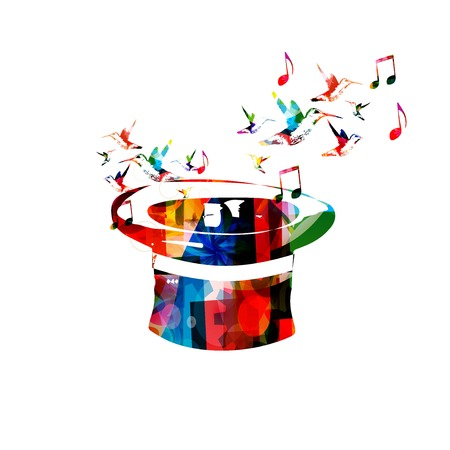 rnabstract: Colorful vector hat background with hummingbirds
