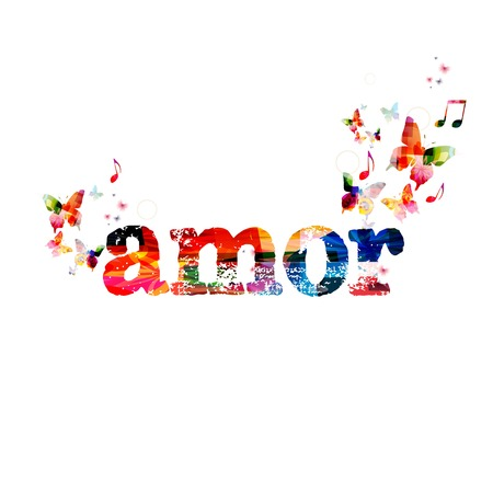 amor: Colorful vector amor background with butterflies