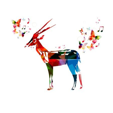 gazelle: Colorful vector gazelle background