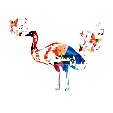 emu: Colorful vector emu background