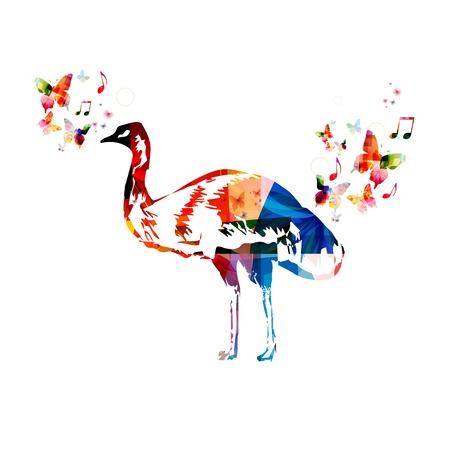 emu: Vector colorido emu fondo Vectores