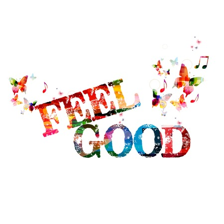 "Colorful vector ""FEEL GOOD\"" background with butterflies"