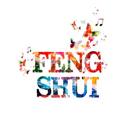 feng shui: Colorful vector feng shui background with butterflies