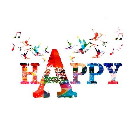 """Kleurrijke vector  """"HAPPY """" achtergrond met kolibries"""