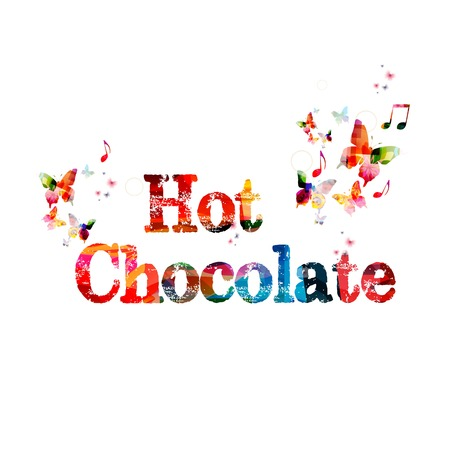 """fondo chocolate: Colorido vector  fondo """"Chocolate caliente """" con las mariposas"""