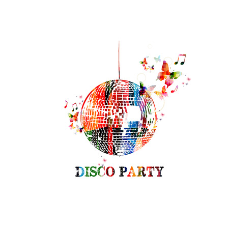 disco symbol: Colorful vector disco ball background with butterflies