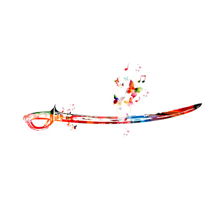 butterfly knife: Colorful vector sword background with butterflies