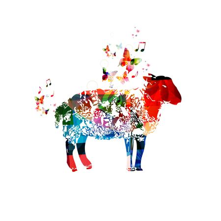sheep sign: Colorful vector sheep background with butterflies