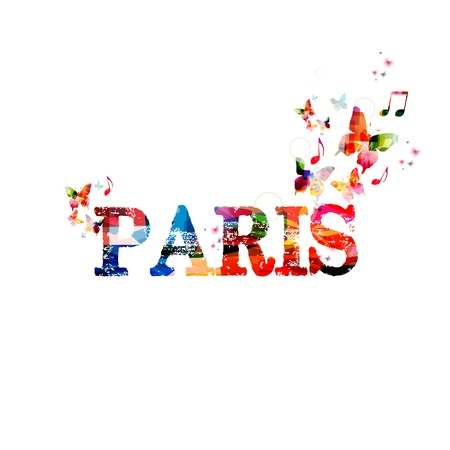Colorful vector Paris background with butterflies Vector