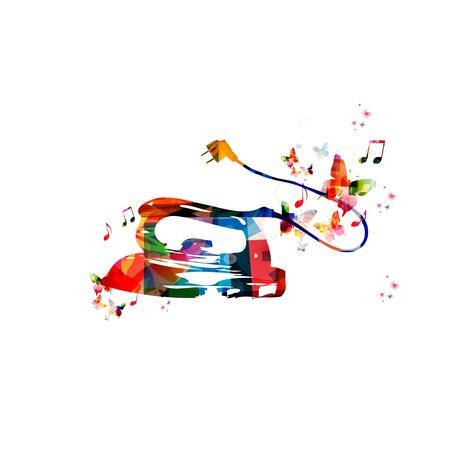 plancha de vapor: Vector de vapor Fondo colorido de hierro con mariposas Vectores