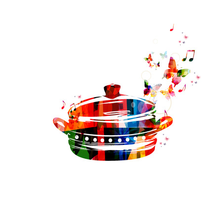 boiling: Colorful vector boiling pot background with butterflies