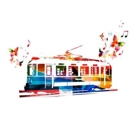 tramway: Colorful vector tram sfondo con farfalle Vettoriali