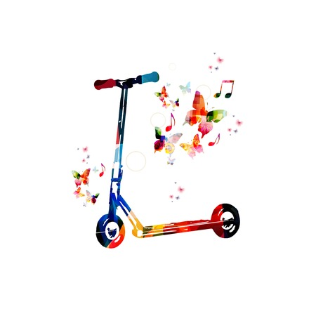 Colorful vector kick scooter background with butterflies Vector