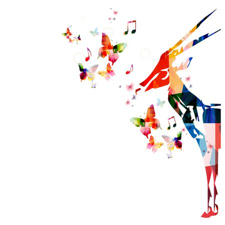 gazelle: Colorful vector gazelle background with butterflies