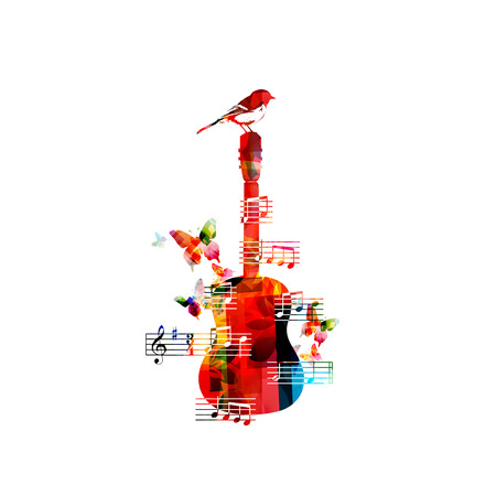 singing bird: Colorful music background with guitar and a bird