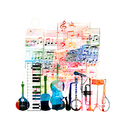 Colorful musical instruments design Vectores