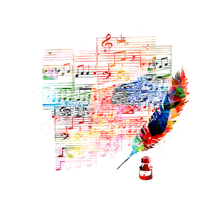 music notes background: Creative musical design Illustration