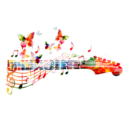 abstract music background: Colorful guitar fingerboard